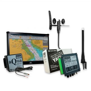 PC navigation system with AIS transponder, wind unit & GPS antenna